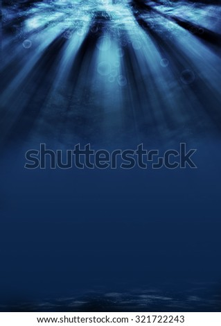 under the sea background with sunlight - stock photo