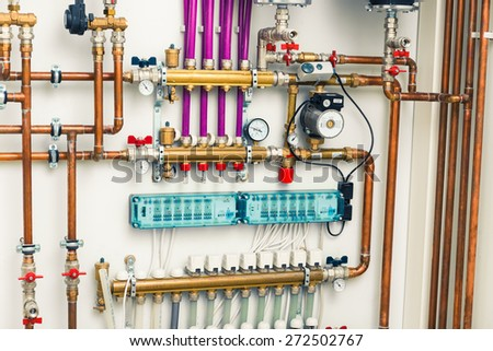 underfloor heating system in  boiler-room - stock photo