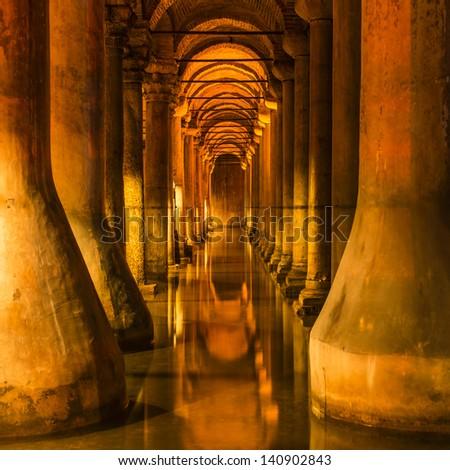 Underground Basilica Cistern in Istanbul - stock photo