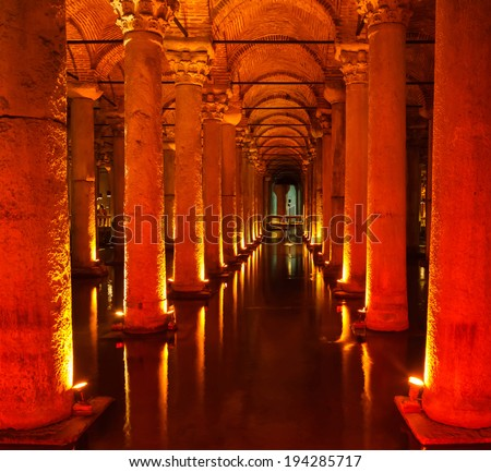 Underground Basilica Cistern (Yerebatan Sarnici) in Istanbul, Turkey - stock photo