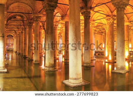 Underground Basilica Cistern Yerebatan Sarnici in Istanbul, Turkey - stock photo