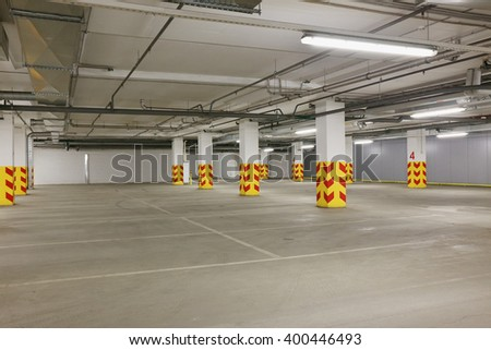 Underground car parking with free places - stock photo