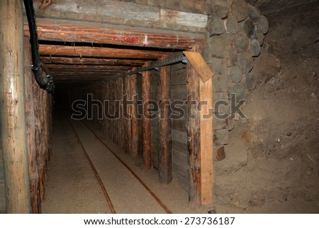 Underground corridor in Wieliczka Salt Mine.  - stock photo
