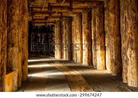 Underground corridor in Wieliczka Salt Mine - stock photo