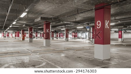Underground garage - parking lot in a basement  - stock photo