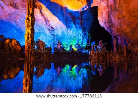Underground lake in Reed Flute Caves in Guilin ,China - stock photo