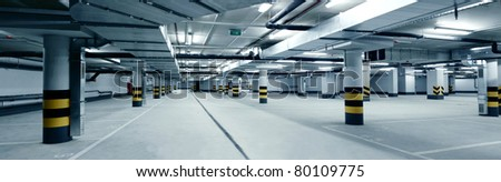 underground parking - stock photo