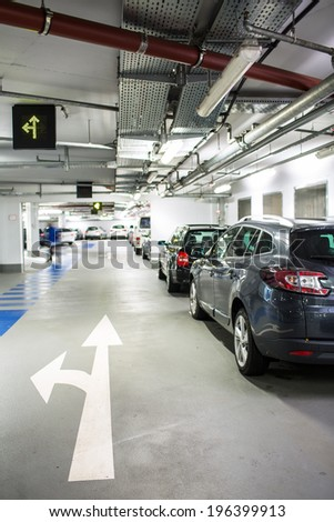Underground parking/garage - stock photo