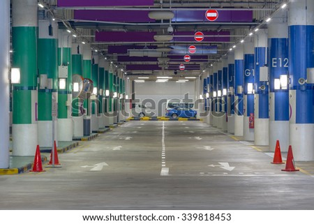 Underground parking on background. - stock photo