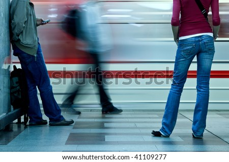 Underground - People waiting for their connection - stock photo