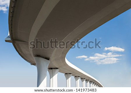 Underside of an elevated roads - stock photo