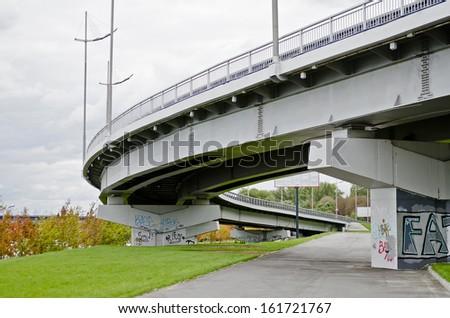 Underside of an overpass roads (roadway) in Kiev, Ukraine - stock photo