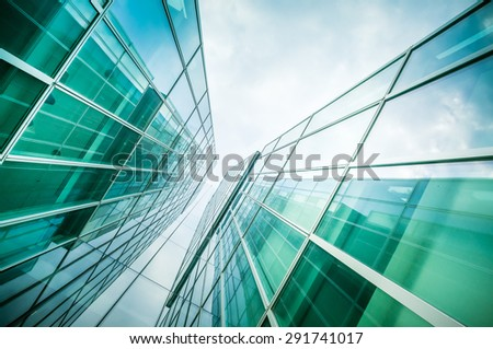 underside panoramic and perspective view to steel glass high rise building skyscrapers, business concept of successful industrial architecture - stock photo