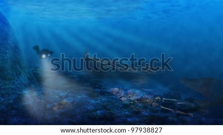Underwater. A diver is approaching an old ship wreck in the deep. In the foreground there are skeletons and in the dark shadows a monster is lurking. - stock photo