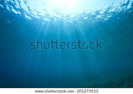 Underwater blue background - stock photo