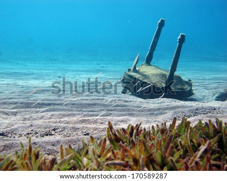 Underwater landscape features chair wreck, sand divers and seagrass - stock photo