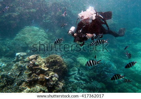 Underwater photographer photographing in the Great Barrier Reef Queensland Australia - stock photo