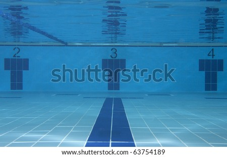Underwater picture of the lanes 2, 3 and 4 of a swimming pool; sport concept. - stock photo