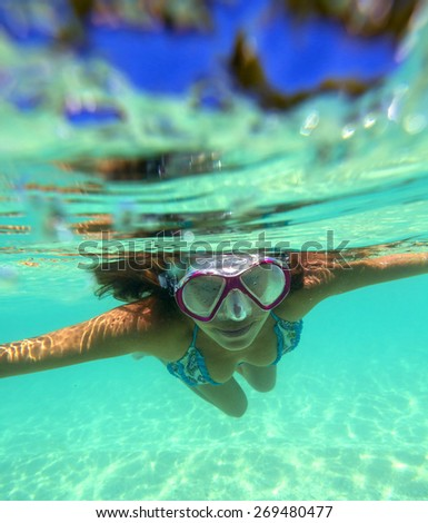 Underwater Portrait of a Yong Woman - stock photo