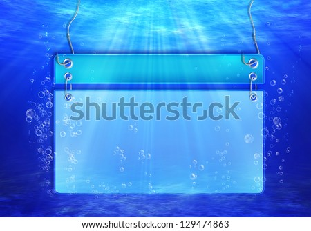 Underwater scene with banner for text with bubbles with Light rays - stock photo