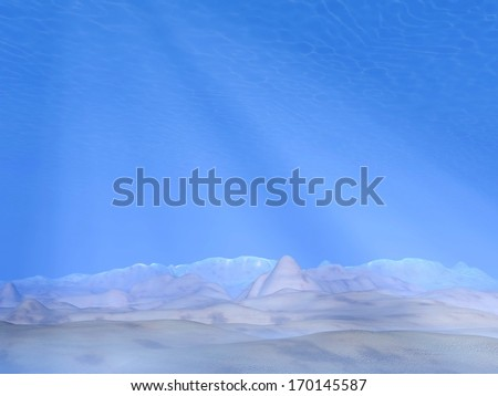 Underwater scene with ground of sand and raylights - stock photo