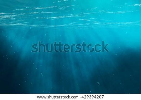 Underwater sea, ocean with light rays. 3d illustration - stock photo