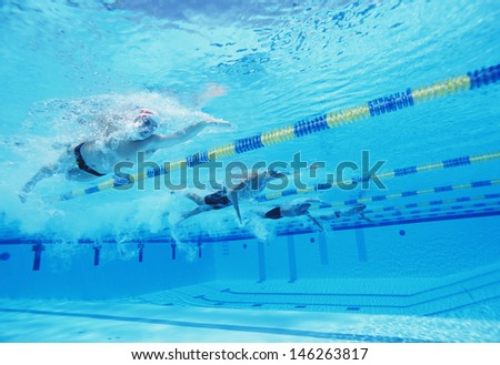 Underwater shot of four male athletes competing in swimming pool - stock photo