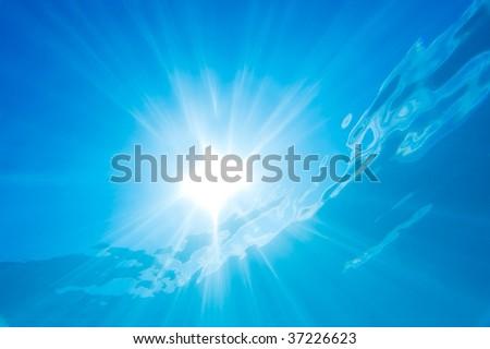 Underwater Sun Rays - stock photo