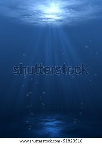 underwater sunlight ocean,blue background - stock photo