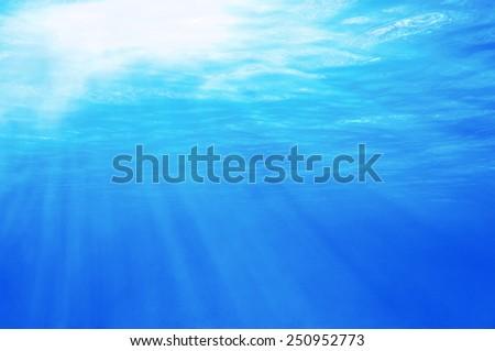 Underwater sunlight through the sea surface, Caribbean - stock photo