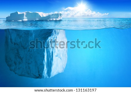Underwater view of big iceberg with beautiful transparent sea on background - illustration. - stock photo