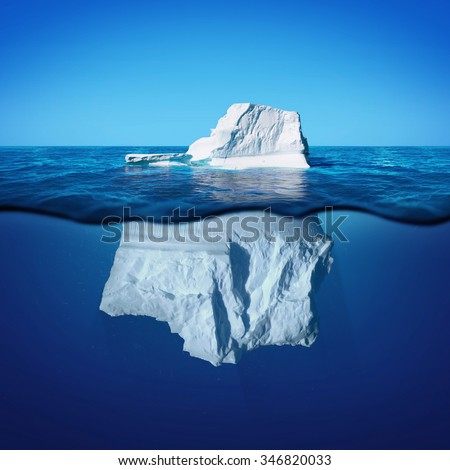 Underwater view of iceberg with beautiful transparent sea on background - stock photo