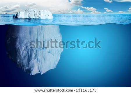 Underwater view of iceberg with beautiful transparent sea on background - illustration. - stock photo