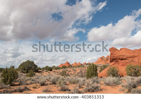 Undulating sandstone formations of South Coyote Buttes, Utah USA - stock photo