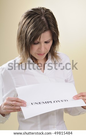 unemployed woman suffering - stock photo