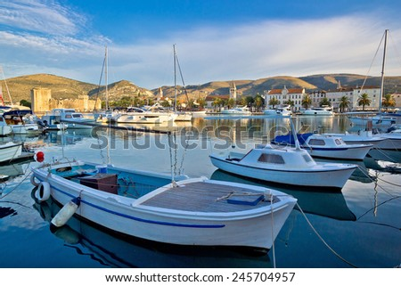 UNESCO town of Trogir harbor and architecture, Dalmatia, Croatia - stock photo