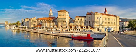 UNESCO town of Trogir waterfront panorama, Dalmatia, Croatia - stock photo