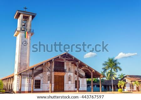 UNESCO World Heritage Jesuit Mission church in San Ignacio, Bolivia - stock photo