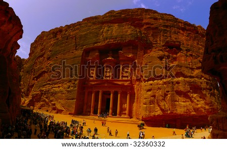 UNESCO World Heritage site. The old city of Petra in Jordan. It was carved out the rocks. - stock photo