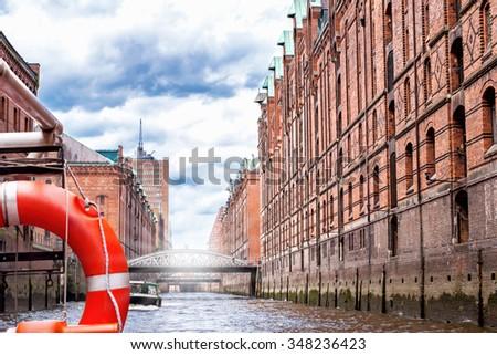 Unesco-World-Heritage-Site: The old Speicherstadt in Hamburg - stock photo