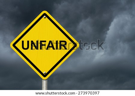 Unfair Caution Road Sign, Caution sign with word Unfair with stormy sky background - stock photo