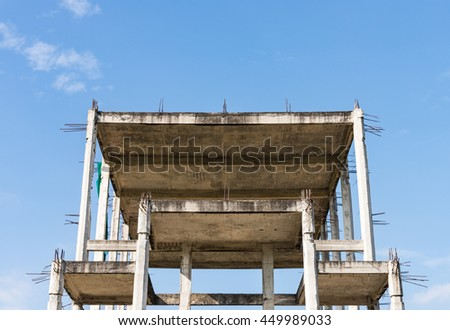 Unfinished building of old office place in the urban of Thailand. - stock photo