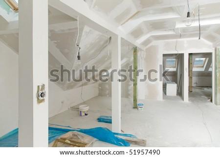 Unfinished Home Interior - the attic - stock photo