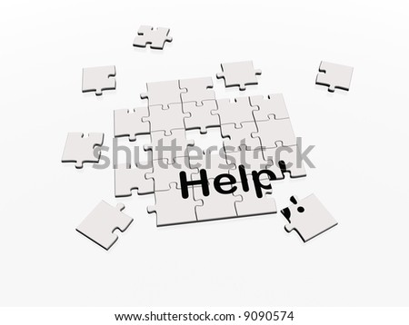 Unfinished jigsaw puzzle with help printed on the pieces. Metaphor for a challenge that requires help. - stock photo