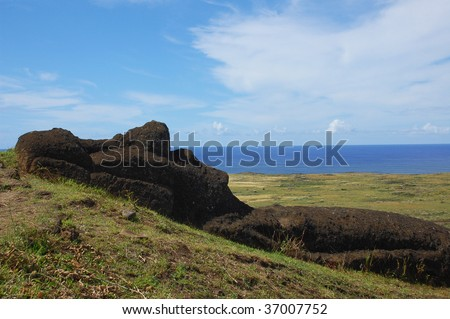 Unfinished Moai at Rano Raraku, Easter Island, Chile - stock photo