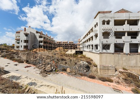 Unfinished residential building construction  - stock photo