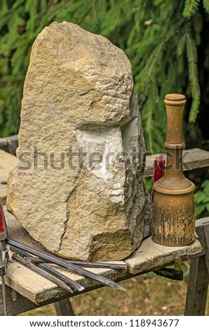 Unfinished sandstone sculpture - stock photo