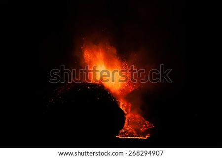 unfocused Eruption and lava flow in Italy - stock photo