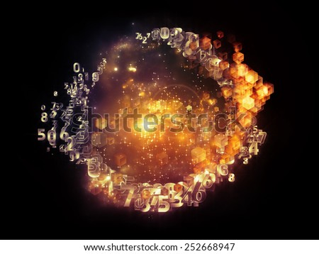 Unfolding Symmetry series. Abstract composition of numbers, graphic elements, lights suitable as element in projects related to  metaphysics, science and modern technology - stock photo
