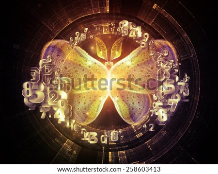 Unfolding Symmetry series. Backdrop design of numbers, graphic elements, lights to provide supporting composition for works on  metaphysics, religion, philosophy, science and modern technology - stock photo